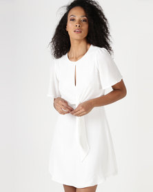 Sasson Front Tie Day Dress Off White