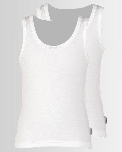 5c1bf9164cc Jockey 2 Pack Boys Single Jersey Interlock Vests White | Zando
