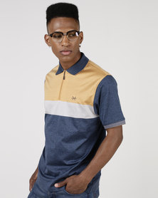 JCrew Stripe Mercerise Golfer Navy