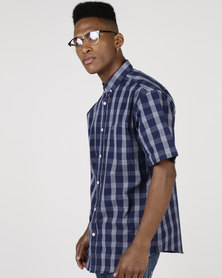 JCrew Navy Short Sleeve Check Shirt Blue