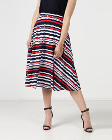 cath.nic By Queenspark Broken Stripe Printed Knit Skirt Multi