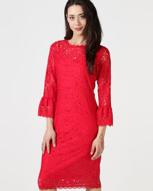 cath.nic By Queenspark Fashion Flared Sleeve Lace Woven Dress Red