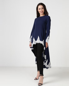 cath.nic By Queenspark Hi-Lo Lace Trim Knit Dress Navy