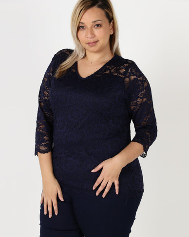 Queenspark Plus Scalloped Smart Lace Knit Top Navy
