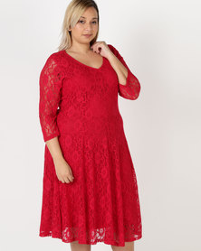 Queenspark Plus Classic Lace Fit & Flare Knit Dress Red