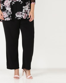 Queenspark Plus Soft Tie Knit Pants Black
