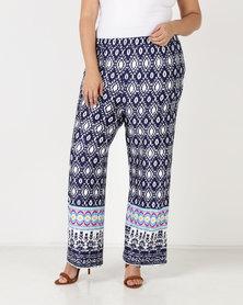 Queenspark Plus Border Printed Knit Pants Navy