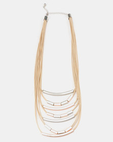 Queenspark 9 Row Metal Bead & Rope Necklace Natural