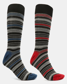 JCrew Charcoal & Blue multi stripe 2 pack socks Charcoal