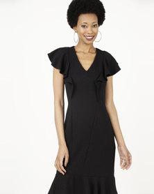 Closet London Frill Hem And Shoulder Dress Black