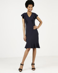 Closet London Frill Hem And Shoulder Dress Navy