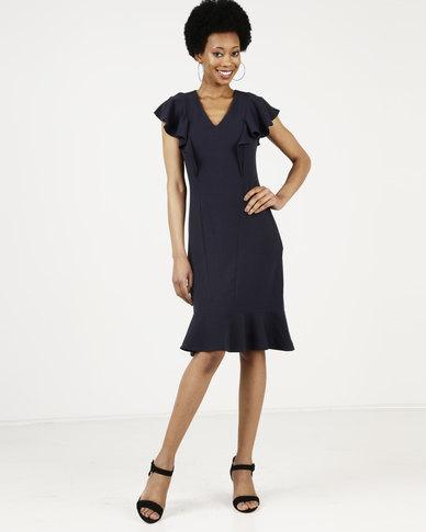 Closet London Frill Hem And Shoulder Dress Navy