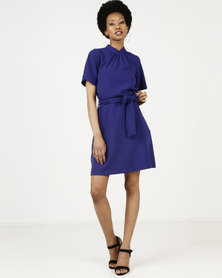 Closet London Gathered Top A-line Dress Purple