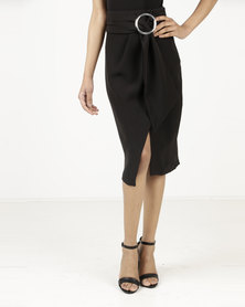 Closet London Circle Ring Draped Skirt Black