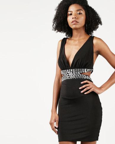 City Goddess London Jewelled Waist Mini Dress Black