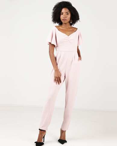 b793a41f1e City Goddess London Off-the-Shoulder Jumpsuit With Ruffle Sleeves Pink