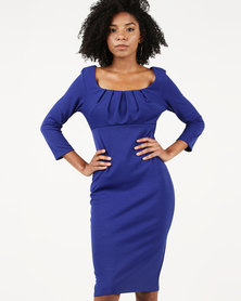 City Goddess London Pleated Front Midi Dress Blue