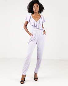 City Goddess London Frilled V Neckline Jumpsuit Lilac