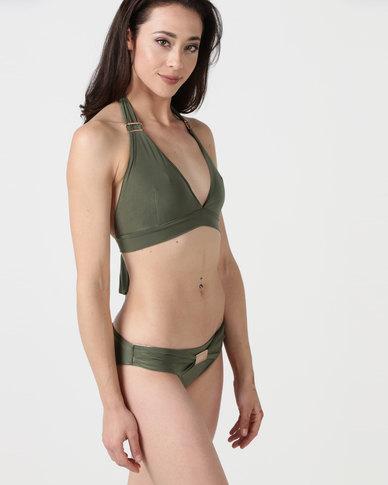 City Goddess London Buckle Detail Bikini Set Khaki
