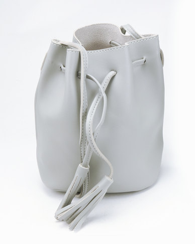 You & I Tasselled Drawstring Bucket CrossBody Bag Grey