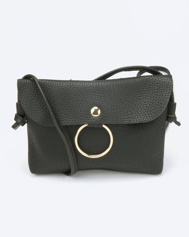 You & I Small Sling Bag with Ring Detail Black