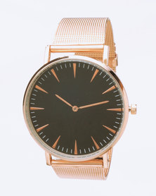 You & I Minimalist Black Rose Gold-Tone