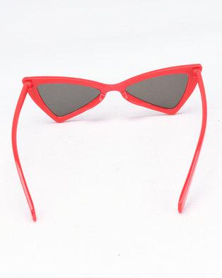 44d4b0ed58938e You   I Geometric Cat Eye Sunglasses Red