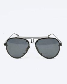 You & I Statement Aviators Sunglasses Black