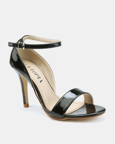 Utopia Long Waisted Barely There Heels Black