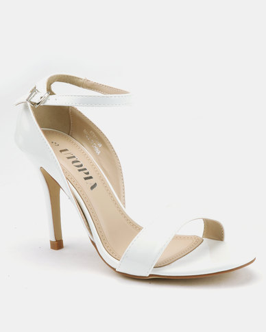 Utopia Long Waisted Barely There Heels White