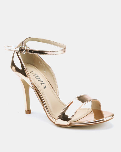 Utopia Long Waisted Barely There Heels Rose Gold