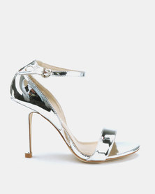Utopia Long Waisted Barely There Heels Silver