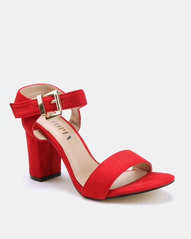 Utopia  Barely There Block Heels Red
