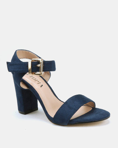 Utopia Barely There Block Heels Navy