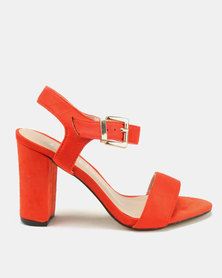 Utopia Barely There Block Heels Orange
