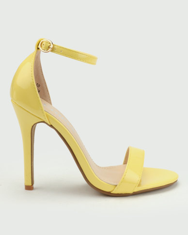 Utopia Patent Barely There Heels Yellow