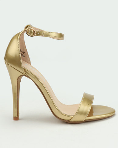 Utopia Patent Barely There Heels Gold