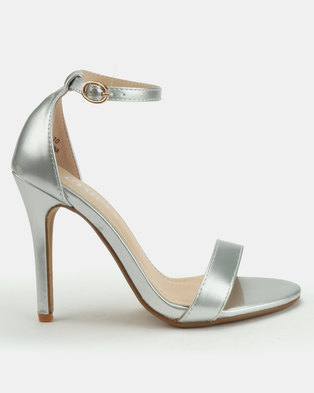 Utopia Patent Barely There Heels Silver