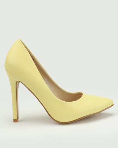 Utopia Pointy Court Shoes Yellow