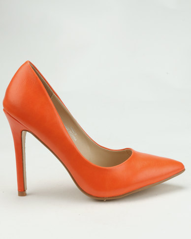 Utopia Pointy Court Shoes Orange