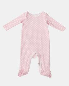 Creative Design Polkadot Long Sleeve Babygrow Pink