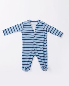 Creative Design Long Sleeve Babygrow Blue Striped