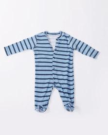 Creative Design Long Sleeve Babygrow Blue Striped