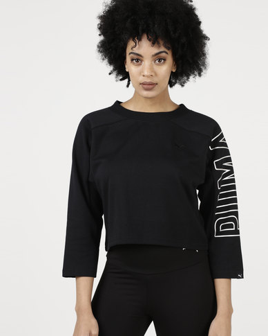 Puma Fusion Cropped 7 8 Sweatshirt Cotton Black