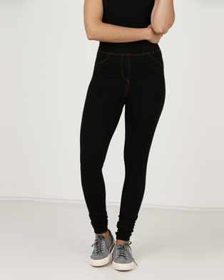 Utopia Knit Denim Look Leggings Black