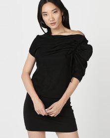 Utopia Knit Asymmetrical Dress Black