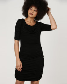 Utopia Knit Draped Dress Black