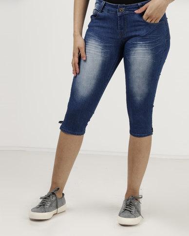 Utopia Denim Knee Length Shorts Blue