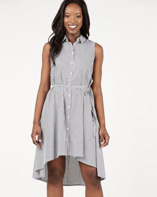 Assuili Long Stripe Design Dress Black