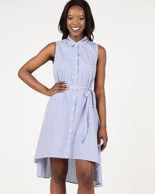 Assuili Long Stripe Design Dress Marine
